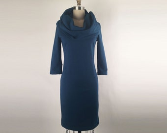Alena Designs - Cowl Neck Wiggle Dress 3/4 Sleeves Organic Cotton French Terry Teal