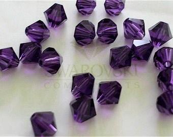 20 Purple Velvet Swarovski Crystals Bicone 5328 6mm