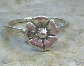 Small Poppy Flower Ring, Flower Pinky Ring, Sterling Flower Ring, Size 5, Small Flower Ring, Flower Stacking Ring by Maggie McMane Designs