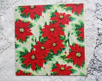 Vintage 1950's NOS Christmas Wrapping Paper - Poinsettias Blooms - Fir Boughs - Candles