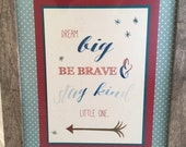 Matted & framed 5 x 7 wall art, baby shower, boy, quote, custom, watercolor, blue, red