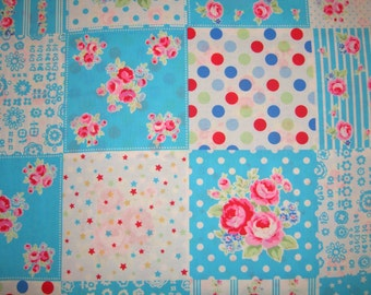 Retro Aqua Patchwork 31376 70 Fabric by Lecien Flower Sugar Sweet Carnival