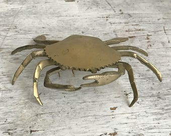vintage brass fiddler crab trinket box