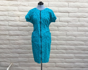 Vintage 80s Wiggle Dress Teal Polka Dot Retro Punk Sz S