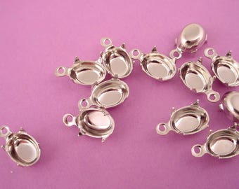 18 Silver Tone Oval Prong Settings 8x6 1 Ring closed Back