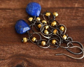 Lapis Lazuli  Pyrite Earrings - Oxidized Sterling Silver Link Earrings - Cobalt Blue Gold Earrings - Dangle Earrings - Dainty Earrings