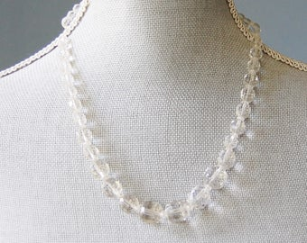 Vintage 1950s Crystal Glass Necklace Molded Clear Graduated Beads