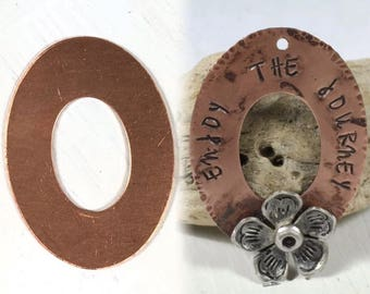 "Copper Oval washer, 24 gauge, 10 pack, Handstamping washer, pendant size, , Fun for stamping, 1 1/2"" x 1 1/8"""