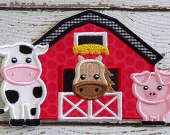 Barn With Cute Farm Animals Iron On Or Sew On Fabric Applique
