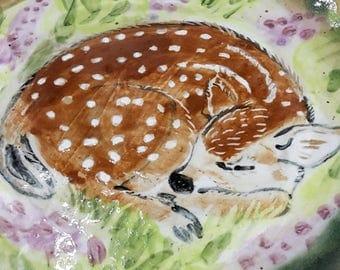 sleeping fawn plate