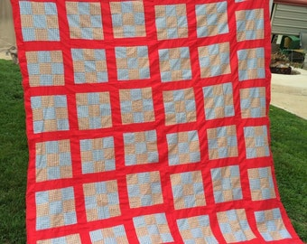 Vintage Nine Patch Quilt Top Kentucky Made