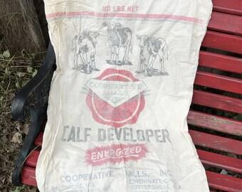 Great Old Printed Muslin FEEDSACK GRAIN BAG with Cows Calf Developer