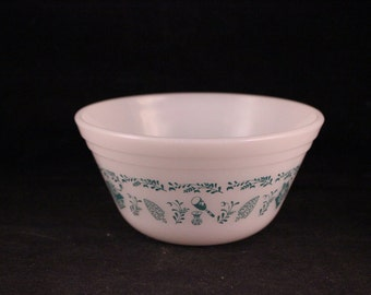 Vintage Federal Glass White Milk Glass Bowl with Turquoise Kitchen Aid Print