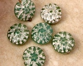 Glass Dahlia Flower Beads, Opal Green Mercury, 14 MM, 6 Pieces, C555