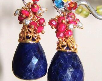 Multi Sapphire Blue Sapphire Ruby Earrings Vermeil Sterling Silver