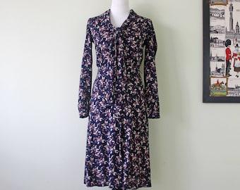 1970s Long Sleeve Berry Print Dress in Navy