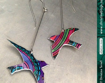 Birds in Flight: Patterned -- Upcycled Tin Earrings
