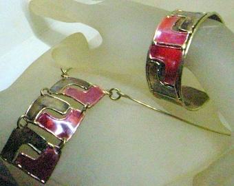 Vintage Brutalist Enamel Necklace AND Cuff Bracelet - Red And Bronze Enamel - Handmade - Big - Near Mint - Stunning