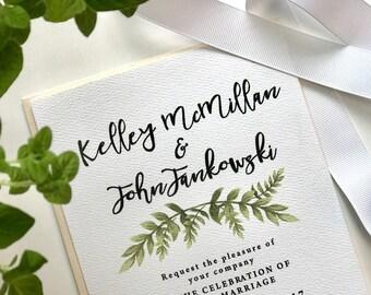 Printable Wedding Invitation // Greenery Invitation // Floral Wreath // Leafy Wreath Invite // Green Wedding Invitation Printable File