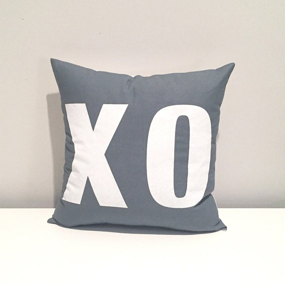 screen printed pillow decor. XO pillow. kiss hug valentine's day pillow for decoration or gifting.