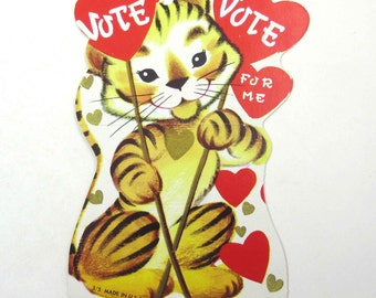 Vintage Children's Novelty Valentine Greeting Card with Cute Tiger and Signs Saying Vote