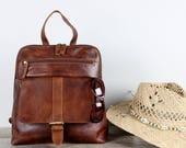 Leather Backpack, Rucksack, antique brown