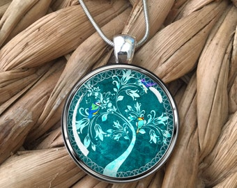 Pretty Turquoise Flowering Tree with Birds Glass Pendant Necklace