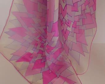"Vintage Vera Hot Pink Sheer Scarf - 45"" Long"