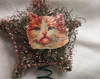 Sweet Cat Vintage Style Tree Topper