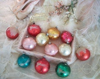 vintage german glass christmas tree ornaments, 1 dozen, lovely aged patina, hand decorated, soft pretty colors, holiday décor, german glass