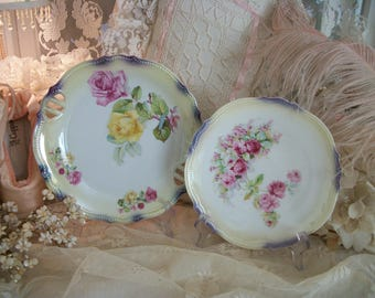 pair antique roses cabinet plates, beautiful floral roses, p k silesia,