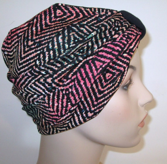 Geometric Print Lycra Stretch Knit Turban, Chemo Hat, Snood, Womens Hat Free Ship USA