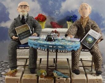 Sigmund Frued, Carl Jung, Diorama Scene, Psychiatry Art, Gift for Psychologist, Unique Handmade