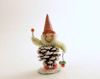 Vintage Christmas Decoration Pine Cone Gnome Pinecone Elf
