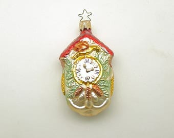 Vintage Christmas  Decoration Glass Ornament Cuckoo Clock West Germany