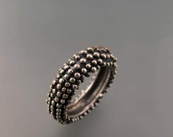 Noir- Sterling Silver ring darkened pebble ring- Rich texture one of a kind ring - Size 6.5