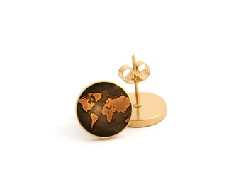 World Map The earth Photo Earring Stud Earring Stainless Steel Earring (EP 145)