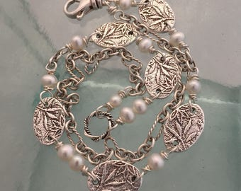 Two-Sided, Reversible Silver Leaves and Lace Bracelet with Freshwater Pearls