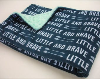 Little and Brave Double Sided Minky Baby Blanket You Choose Size MADE TO ORDER