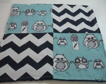 Manly Owls Black Navy Gray Aqua Four Square Baby Minky Burp Cloth 12 x 12 READY TO SHIP