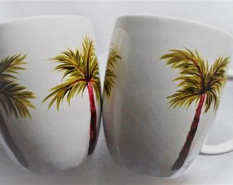 Palm Tree Cups Hand Painted Porcelain Palm Tree Mugs Set of 2