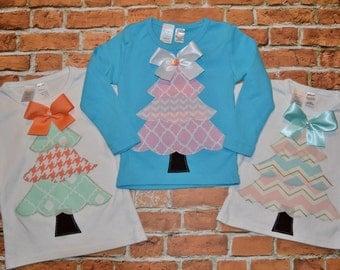 "Girls ""SHABBY CHIC HOLIDAYS"" collection  Christmas Tree applique tee shirt 6-12-18-24 mth 2-3-4-5-6-7-8 pink peach mint aqua metallic gold"