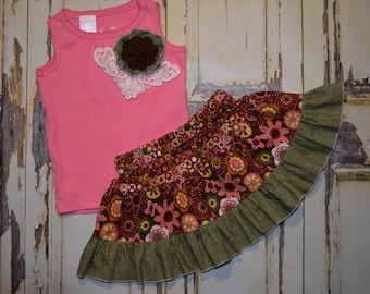 Girls 2 piece set TANK top & twirly skirt pink / brown / green  shabby flowers sizes 12 mth - 18mth - 2T - 5T * REaDY to SHIP