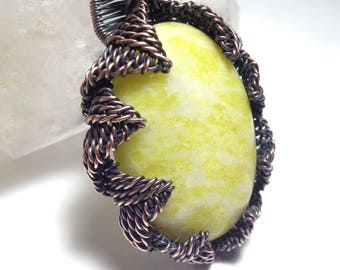 Woven wire wrapped large, bright yellow-green Serpentine pendant