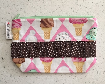 Ice Cream Cone Zip Pouch with Diamonds
