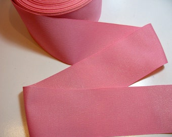 Wide Pink Ribbon, Pink and Metallic Gold Grosgrain Ribbon 3 inches wide x 3 yards