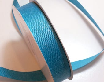 Blue Ribbon, Turquoise Blue Glitter Grosgrain Ribbon 7/8 inch wide x 25 yards, Offray Glitter Grosgrain Ribbon