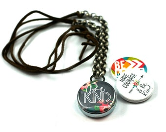 Be Kind Leather Necklace, Kindness Necklace, 3 in 1 Magnetic LOCKET, Holds Picture, Be Brave Locket, Gift for Her, Leather and Steel Locket