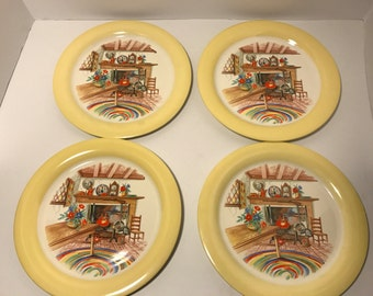 Mid Century Plates RARE 1940's Homer Laughlin China Yellow Fireplace Table Ware Dining Room Home