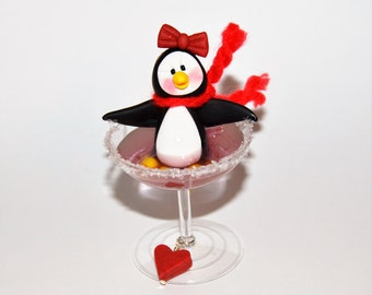 Penguin in a Martini Polymer Clay Christmas Ornament
